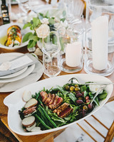 reception table with new england salad