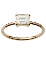 emerald cut ring thin gold band