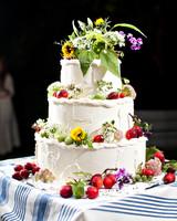 fruit adorned wedding cake