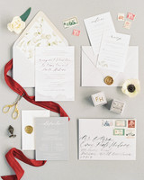 fall invites floral-lined envelopes