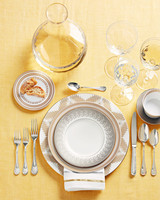 gold patterned dishes