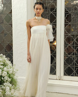 Houghton ivory and metallic strapless wedding dress