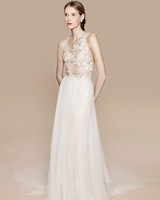 Ethereal Wedding Gown with Floral Appliques and Tulle