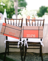 wood mr and mrs wedding signs with orange accents