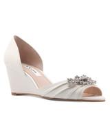outdoor wedding shoes rhinestone-embellished peep-toe wedges