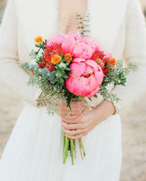lush king protea and pink peony bouquet