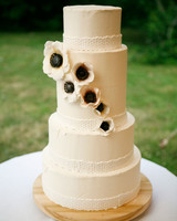 Five-Tiered Wedding Cake with Lacey Icing and Sugar Anemones