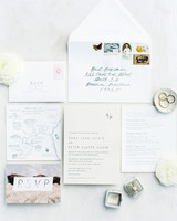 wedding stationary suit with map design