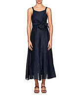 Masscob Linen-Blend Self-Tie Maxi Dress
