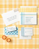 plaid wedding invitation