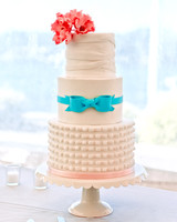 Wedding Cake with Pink Flower and Teal Bow