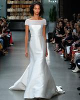 amsale fall 2019 short sleeve mermaid wedding dress