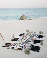animal print wedding ideas hide seating on beach