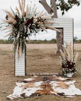 animal print wedding ideas hide decorating altar