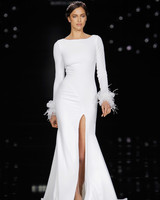 Simple Pronovias Wedding Dress with thigh high Slit
