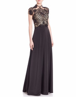 Basix Black Short-Sleeved Lace Gown