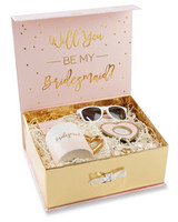 be my bridesmaid pink and gold gift box