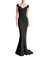 v-neck black gown