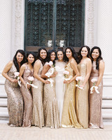 chic bridesmaids assorted metallic glitter gowns