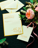 gold bordered wedding invitation