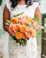 bride dahlia bouquet orange peach flowers