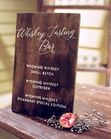 whiskey tasting wooden bar sign