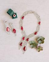 custom designed family jewelry with dark pink toned gemstones