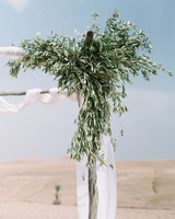 ceremony alter with olive branches decor