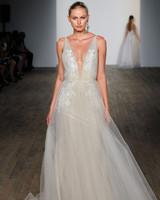 lazaro fall 2019 v-neck sheath glitter wedding dress
