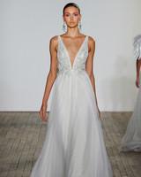 lazaro fall 2019 v-neck spaghetti strap sheath wedding dress