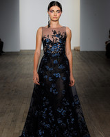Lazaro Fall 2019 Illusion High Neckline Fl Lique Black Wedding Dress