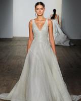 lazaro fall 2019 v-neck glitter ball gown wedding dress