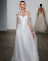 lazaro fall 2019 sheath illusion high neckline wedding dress