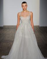 lazaro fall 2019 sheath illusion high neckline glitter wedding dress
