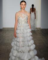 lazaro fall 2019 tier vertical ruffles illusion high neck wedding dress