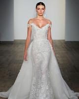lazaro fall 2019 sheath floral applique overskirt wedding dress