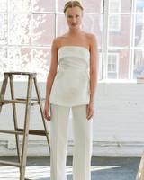 Strapless Peplum Wedding Suit
