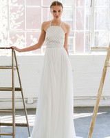 Lela Rose simple Halter Neck Wedding Dress