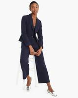 Structured Peplum Blazer in Bi-Stretch Cotton Wide-Leg Pants