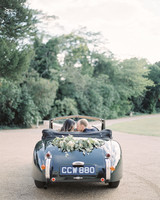 momina jack wedding vintage car couple driving through trees