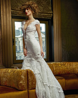 olvi wedding dress spring 2019 plunging neck lace cap sleeves