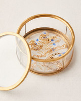 ring boxes glass and gold