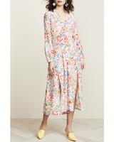 long sleeve white floral print midi dress