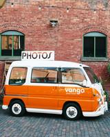 steph tim wedding orange and white photo bus
