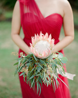 King protea and eucalyptus wedding bouquet
