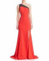 Red One-Shouldered Gown with Black Accent