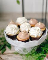 cupcakes with chocolate and vanilla frosting with gold foil