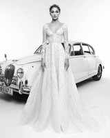 zuhair murad wedding dress spring 2019 v-neck a-line with long sleeves