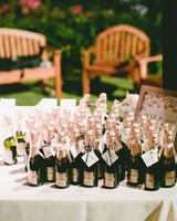 alcohol escort cards single-serving chandon bottles