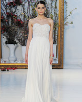 Anne Barge simple strapless wedding dress with corset bodice